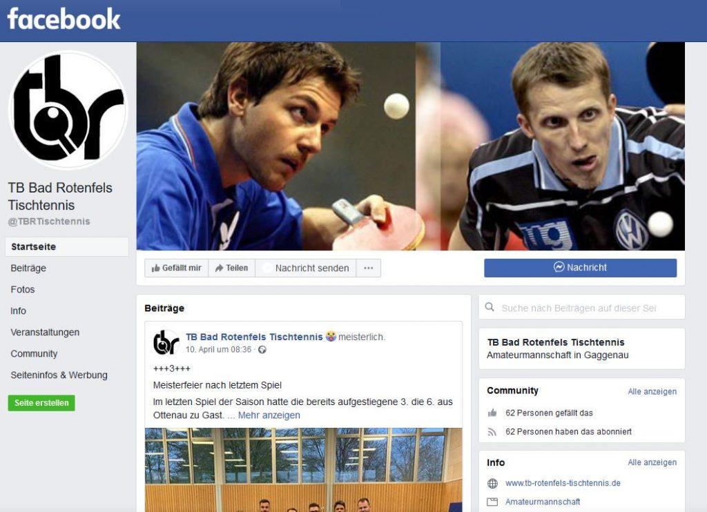 Facebookseite TBR Tischtennis